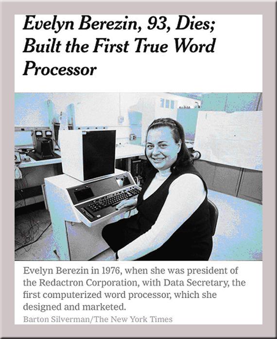 Evelyn hat die Redactron Word Prozessor Maschinen erfunden
